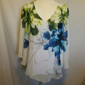 Roz & Ali White Sequin Floral Top Size 2X